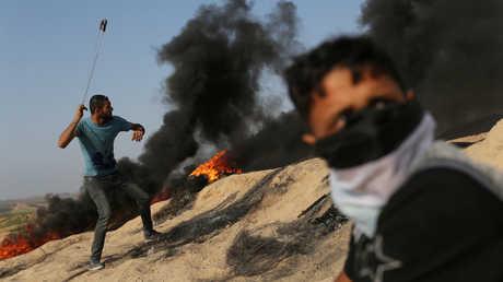 فلسطينيون محتجون - صورة أرشيفية