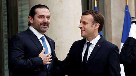 الرئيس الفرنسي إيمانويل ماكرون ورئيس الوزراء اللبناني سعد الحريري - أرشيف