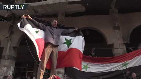 فرحة سكان دوما بعد تحريرها
