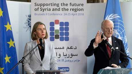 مؤتمر صحفي مشترك للمبعوث الأممي الخاص ستيفان دي ميستورا والمفوضة العليا للشؤون الخارجية في الاتحاد الأوروبي فيديريكا موغيريني في بروكسل