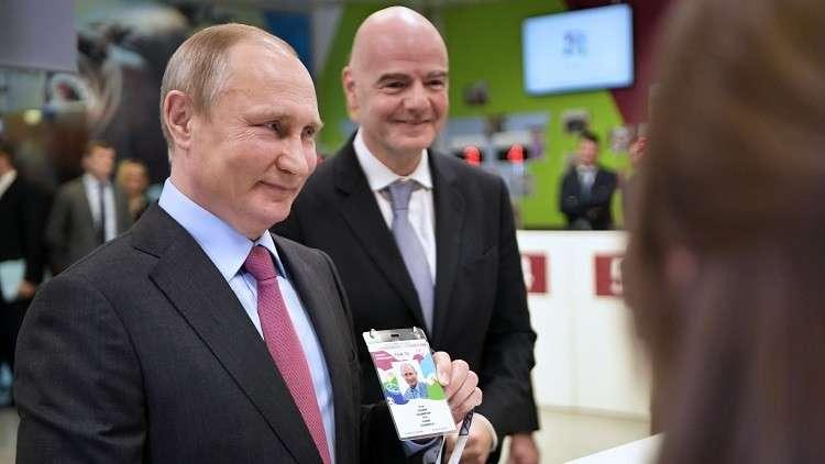 بوتين يحضر المباراة الافتتاحية لمونديال 2018