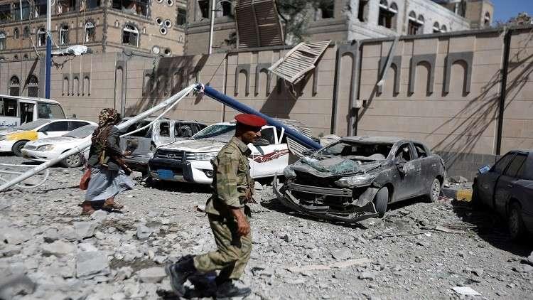 شاهد لحظة قصف مبنى المكتب الرئاسي في صنعاء