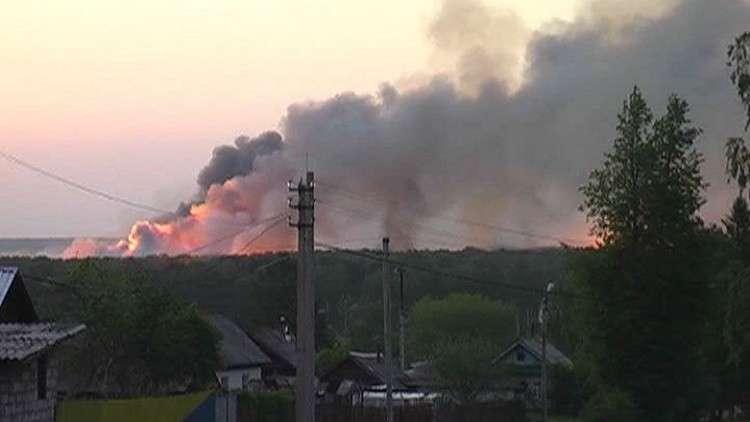 حريق وانفجارات في موقع عسكري سابق بجمهورية أودمورتيا الروسية