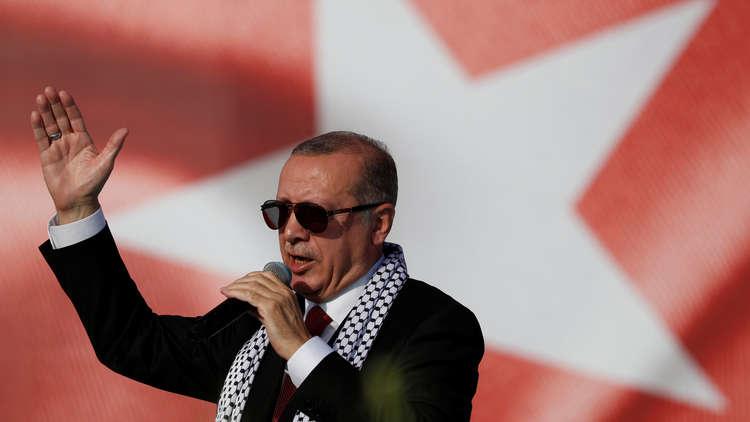 الرئيس التركي، رجب طيب أردوغان، خلال تجمع نصرة القدس في إسطنبول
