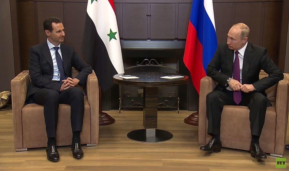 الأسد يؤكد لبوتين خلال لقائهما في سوتشي استعداده للتسوية السياسية في سوريا