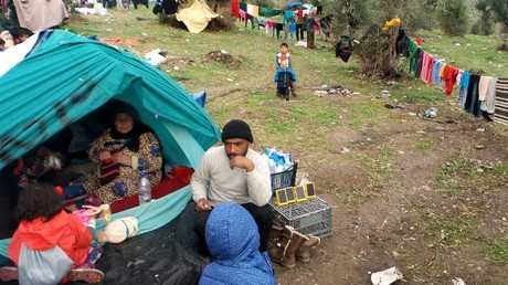 مخيم اللاجئين في قرية موريا، ليسبوس، اليونان، أرشيف