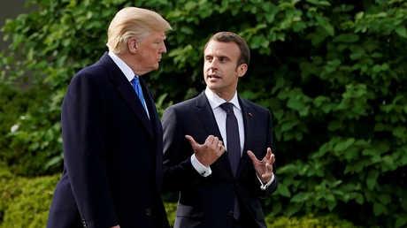 الرئيس الفرنسي، إيمانويل ماكرون، ونظيره الأمريكي، دونالد ترامب (واشنطن، 23 أبريل)