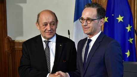 مؤتمر صحفي لوزير الخارجية الألماني هايكو ماس ووزير الخارجية الفرنسي جان إيف لو دريان في برلين، 07 مايو 2018