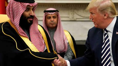 الرئيس الأمريكي، دونالد ترامب، يستقبل في البيت الأبيض ولي العهد السعودي، الأمير محمد بن سلمان في 20 مارس 2018