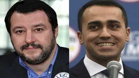 """زعيما """"حركة خمس نجوم"""" لويجي دي مايو (على اليمين) وحزب """"الرابطة"""" ماتيو سالفيني (على اليسار)"""