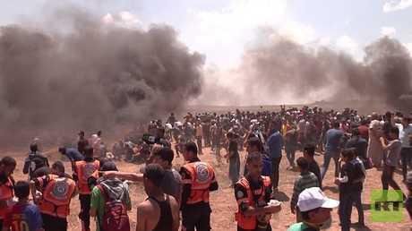 إصابة 58 فلسطينيا خلال مواجهات في غزة