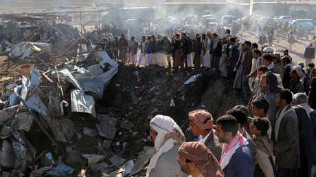 مكان قصف في مدينة صعدة اليمنية أسفر عن مقتل 26 شخصا في 2017