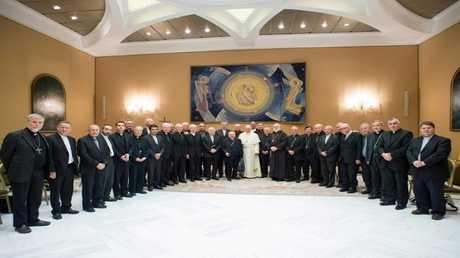 البابا خلال لقائه أساقفة تشيلي