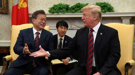 ترامب والرئيس مون جاي إن، في البيت الأبيض، يوم 22 مايو 2018