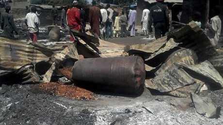 آثار انفجار في قرية كوندوغا شمال شرقي نيجيريا- صورة أرشيفية