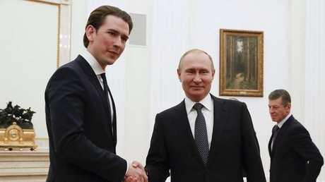 صورة ارشيفية للقاء بين الرئيس فلاديمير بوتين والمستشار النمساوي سيباستيان كورتز