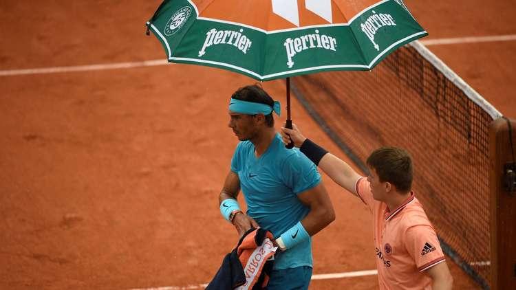 المطر يؤجل مباراة نادال وشفارتسمان في رولان غاروس