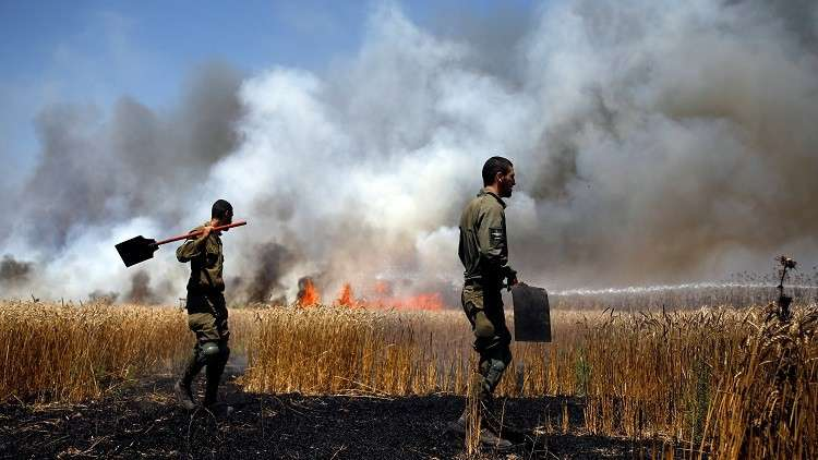 الطائرات الورقية الفلسطينية تحرق 17 موقعا إسرائيليا