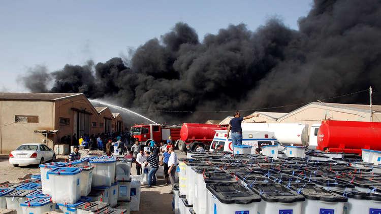 حريق هائل بمخازن مفوضية الانتخابات في بغداد