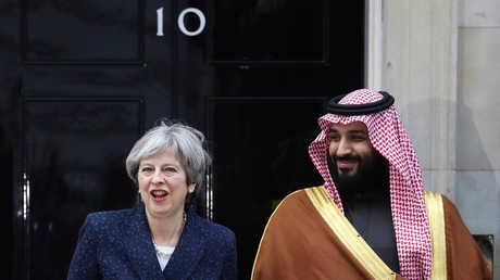 ولي العهد السعودي محمد بن سلمان ورئيسة الوزراء البريطانية تيريزا ماي، لندن، 7 مارس 2018