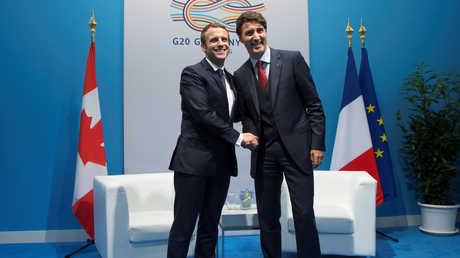 الرئيس الفرنسي إيمانويل ماكرون ورئيس الوزراء الكندي جاستين ترودو