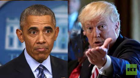 (يمين) الرئيس الأمريكي دونالد ترامب، والرئيس الأمريكي السابق، باراك أوباما (يسار)
