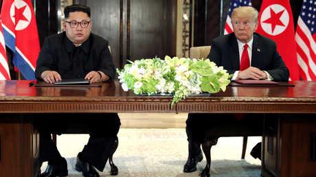 الرئيس الأمريكي دونالد ترامب وزعيم كوريا الشمالية كيم جونغ أون، سنغافورة، 13 يونيو 2018