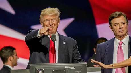 دونالد ترامب وبول مانافورت أثناء انتخابات الرئاسة الأمريكية عام 2016