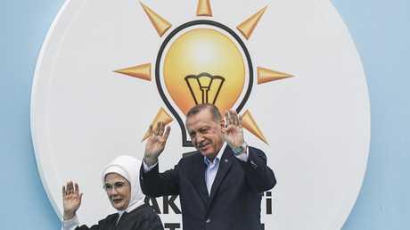 الرئيس التركي رجب طيب أردوغان وعقيلته - أرشيف