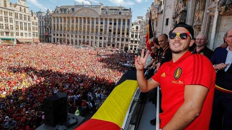 بالفيديو.. هازارد يقود احتفالات بلجيكا ببرونزية مونديال روسيا