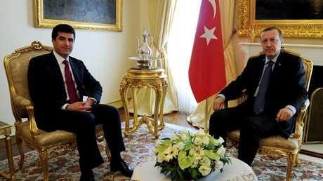 رئيس وزراء إقليم كردستان العراق نيجرفان بارزاني والرئيس التركي رجب طيب أردوغان