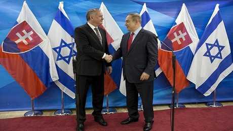 الرئيس السلوفاكي أندريه كيسكا يلتقي رئيس الوزراء الإسرائيلي بنيامين نتنياهو في القدس في 30 مارس عام 2017.