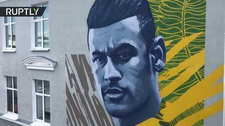 لوحة جدارية لنيمار تظهر في قازان!