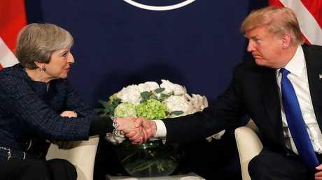 الرئيس الأمريكي دونالد ترامب ورئيسة وزراء بريطانيا تيريزا ماي - أرشيف