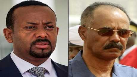 رئيس إريتريا أسياس أفورقي (على اليمين) ورئيس الوزراء الإثيوبي أبي أحمد