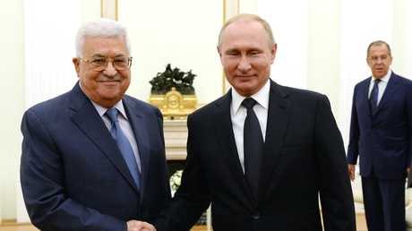 لقاء الرئيس الروسي فلاديمير بوتين ونظيره الفلسطيني محمود عباس في موسكو، 14 يوليو 2018