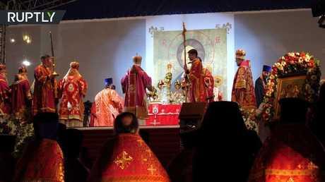 قداس مسيحي في يكاتيرينبورغ بمناسبة 100 عام على مصرع القيصر