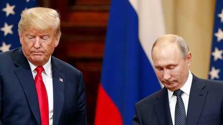 الرئيس الروسي فلاديمير بوتين ونظيره الأمريكي دونالد ترامب أثناء مؤتمر صحفي مشترك في هلسنكي، 16/07/2018