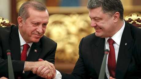 الرئيس التركي رجب طيب أردوغان ونظيره الأوكراني بيترو بوروشينكو