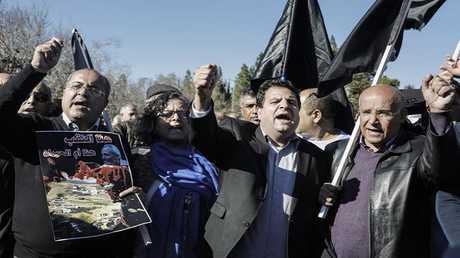 نواب عرب في الكنيست الإسرائيلي خلال فعالية احتجاجية (أرشيف)