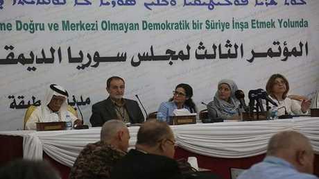 """مؤتمر لـ""""مجلس سوريا الديمقراطية"""" في مدينة الطبقة، 16 يوليو 2018"""