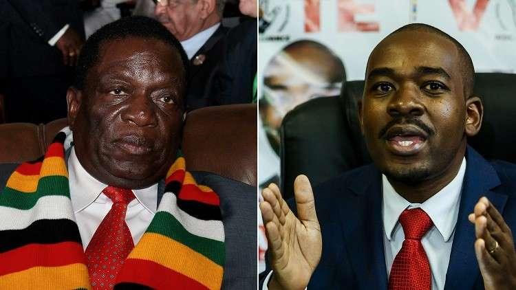 رئيس زيمبابوي إيمرسون منانغاغوا (اليسار) وزعيم المعارضة نيلسون تشاميسا