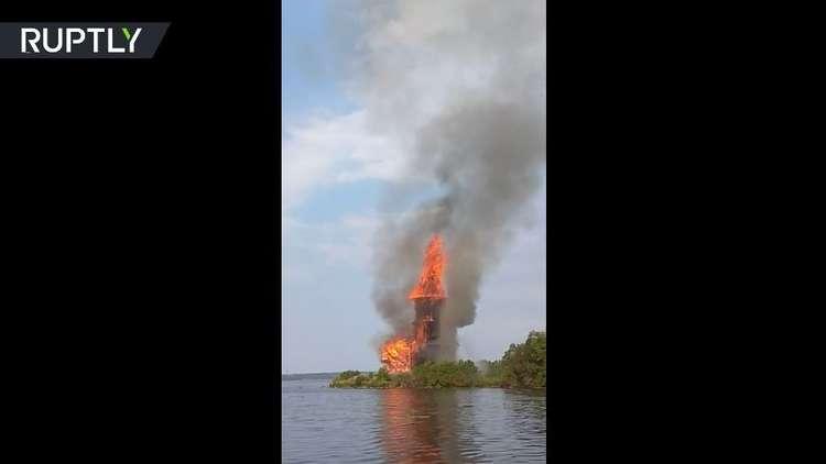 حريق يدمر كنيسة تاريخية روسية