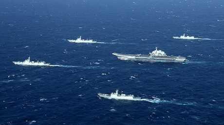 سفن حربية صينية أثناء تدريبات في بحر الصين الجنوبي (أرشيف)