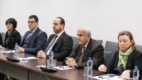 وفد هيئة التفاوض السورية المعارضة في إحدى جولات مفاوضات جنيف (أرشيف)