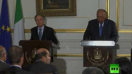 وزير الخارجية المصري سامح شكري ونظيره الإيطالى اينزو ميلانيزى
