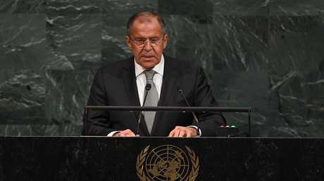 وزير الخارجية الروسي سيرغي لافروف يلقي كلمة أمام الجمعية العامة للأمم المتحدة (صورة من الأرشيف)