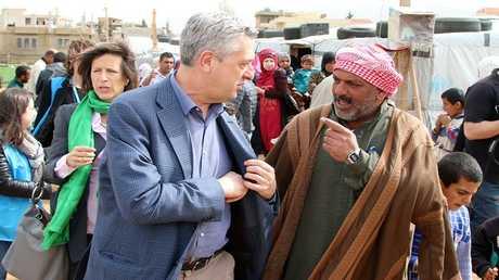 زيارة مفوض الأمم المتحدة السامي لشؤون اللاجئين فيليبو غراندي لمخيم للاجئين السوريين في لبنان