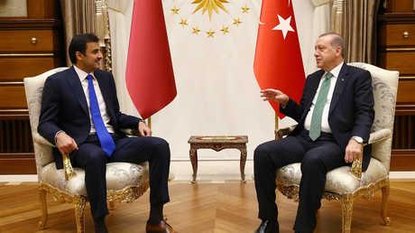 الرئيس التركي، رجب طيب أردوغان، يلتقي، أمير قطر، الشيخ تميم بن حمد آل ثاني، يوم 14 سبتمبر 2017 في أنقرة