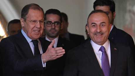 لقاء وزيري الخارجية التركي مولود جاويش أوغلو والروسي سيرغي لافروف في موسكو، 28 أبريل 2018
